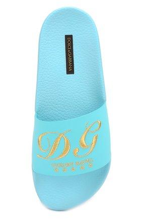 Кожаные шлепанцы с вышивкой Dolce & Gabbana синие | Фото №4
