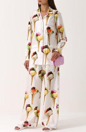 Кожаные шлепанцы с вышивкой Dolce & Gabbana белые   Фото №2