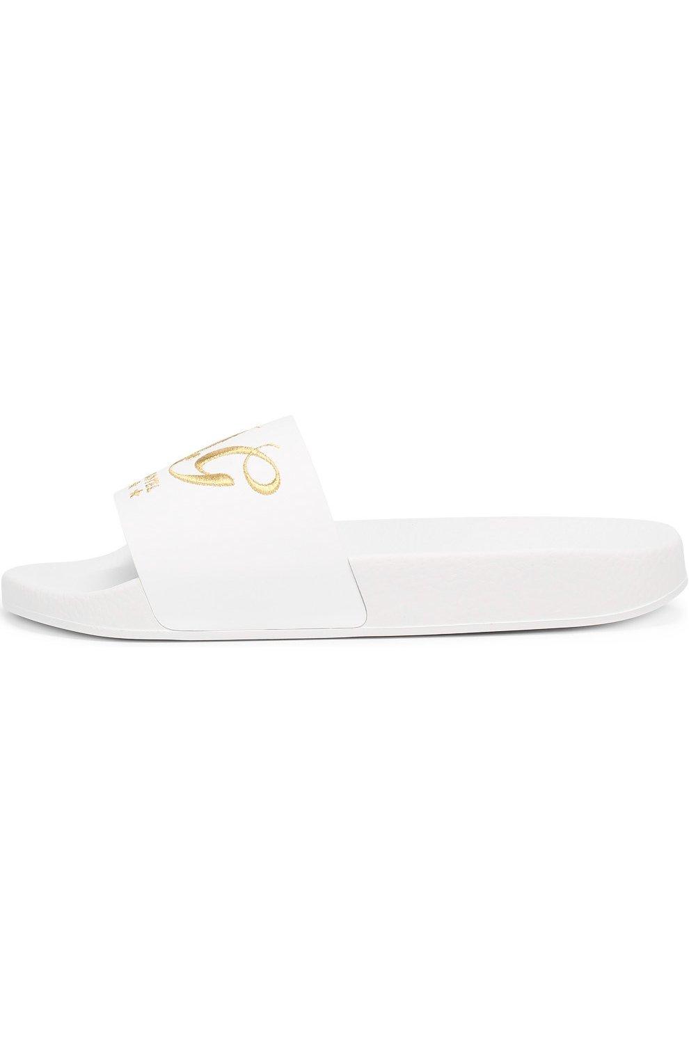 Кожаные шлепанцы с вышивкой Dolce & Gabbana белые   Фото №3