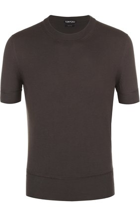 Мужская хлопковая футболка TOM FORD оливкового цвета, арт. BMC00TFKC10 | Фото 1