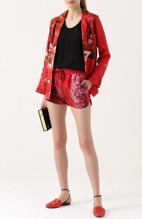 Шелковые шорты с цветочным принтом F.R.S. красные | Фото №1