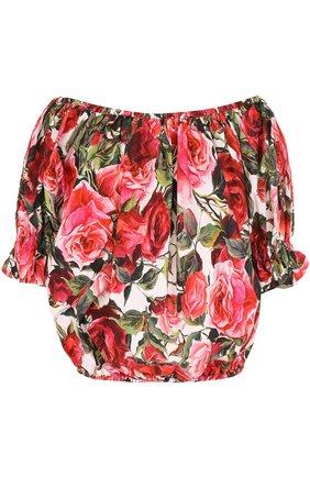 Топ с открытыми плечами и цветочным принтом Dolce & Gabbana розовый   Фото №1