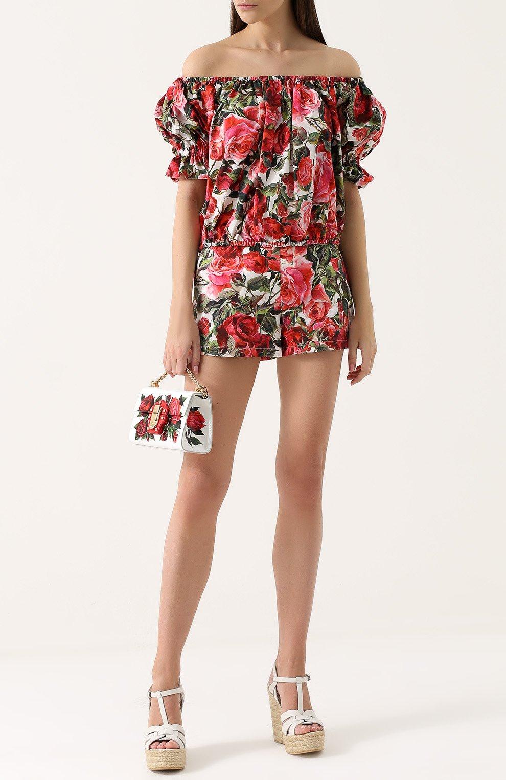 Топ с открытыми плечами и цветочным принтом Dolce & Gabbana розовый   Фото №2