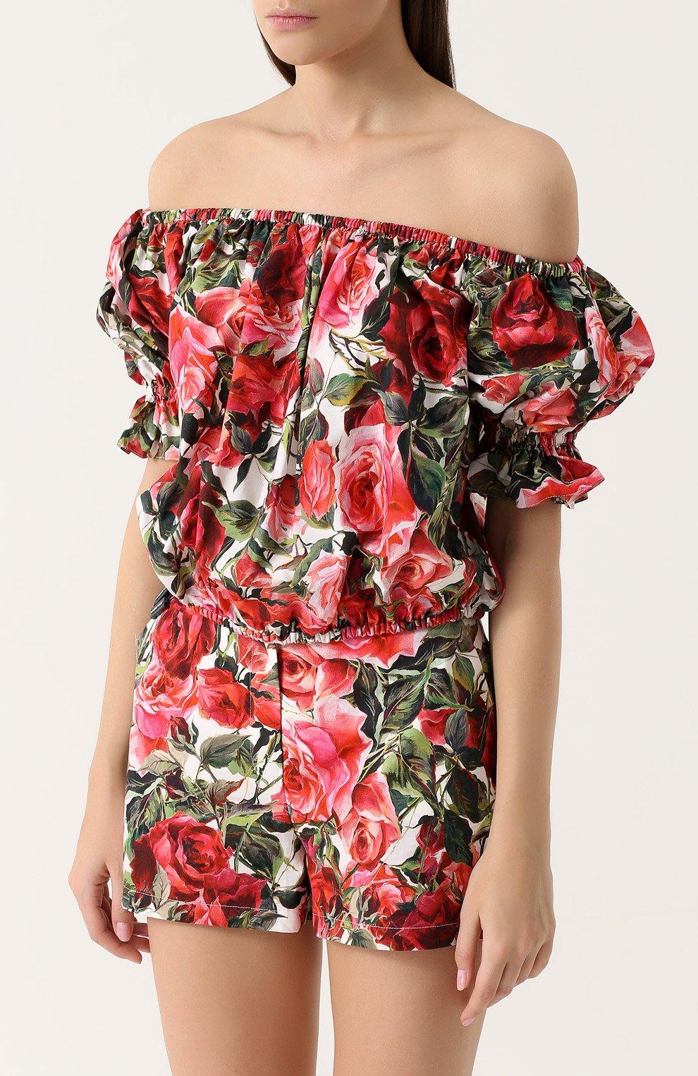 Топ с открытыми плечами и цветочным принтом Dolce & Gabbana розовый   Фото №3