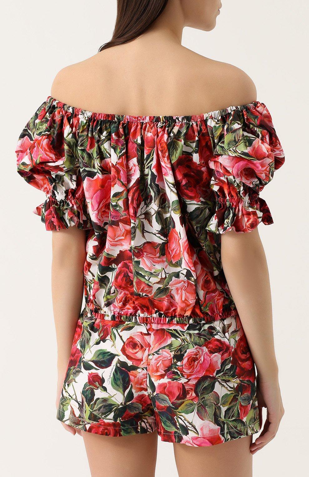 Топ с открытыми плечами и цветочным принтом Dolce & Gabbana розовый   Фото №4