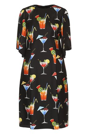 Шелковое платье с завышенной талией и принтом Dolce & Gabbana черное | Фото №1