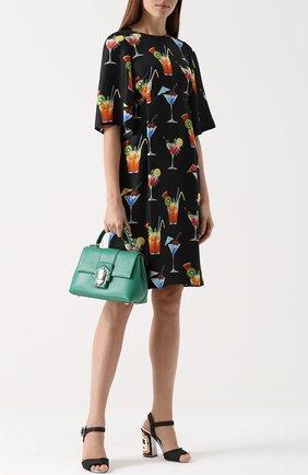 Шелковое платье с завышенной талией и принтом Dolce & Gabbana черное | Фото №2
