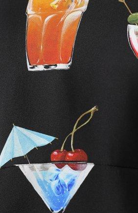 Шелковое платье с завышенной талией и принтом Dolce & Gabbana черное | Фото №5