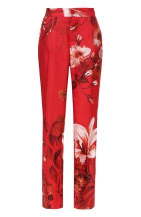Шелковые брюки с цветочным принтом F.R.S. красные | Фото №1