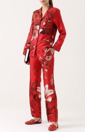 Женская шелковая блуза в пижамном стиле с цветчоным принтом F.R.S., цвет красный, арт. CA000110/TE00141 в ЦУМ | Фото №1