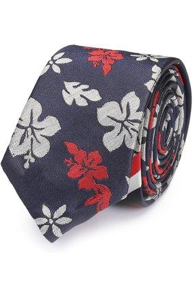 Шелковый галстук с цветочным принтом   Фото №1