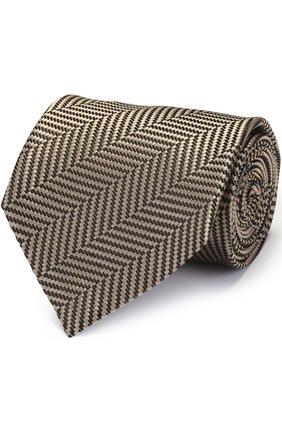 Мужской шелковый галстук с узором TOM FORD бежевого цвета, арт. 9TF261TF | Фото 1