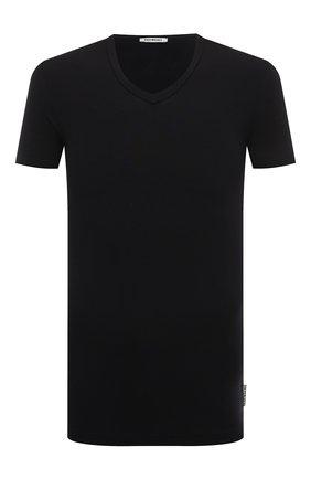 Мужская футболка из вискозы с v-образным вырезом DIRK BIKKEMBERGS темно-синего цвета, арт. B41312T49 | Фото 1