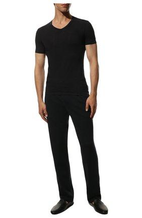 Мужская футболка из вискозы с v-образным вырезом DIRK BIKKEMBERGS темно-синего цвета, арт. B41312T49 | Фото 2