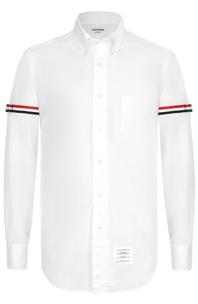Хлопковая рубашка с воротником button down и контрастной отделкой Thom Browne белая | Фото №1