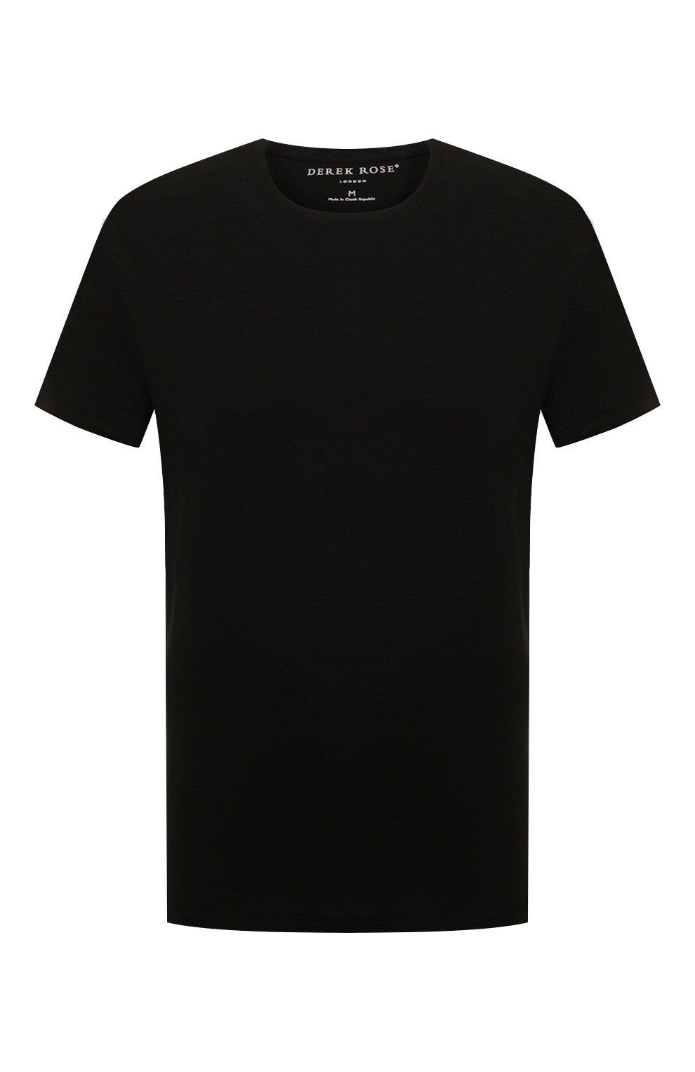 Мужская футболка DEREK ROSE черного цвета, арт. 3048-BASE001   Фото 1 (Кросс-КТ: домашняя одежда; Рукава: Короткие; Материал внешний: Синтетический материал; Длина (для топов): Стандартные; Мужское Кросс-КТ: Футболка-белье; Статус проверки: Проверено, Проверена категория)
