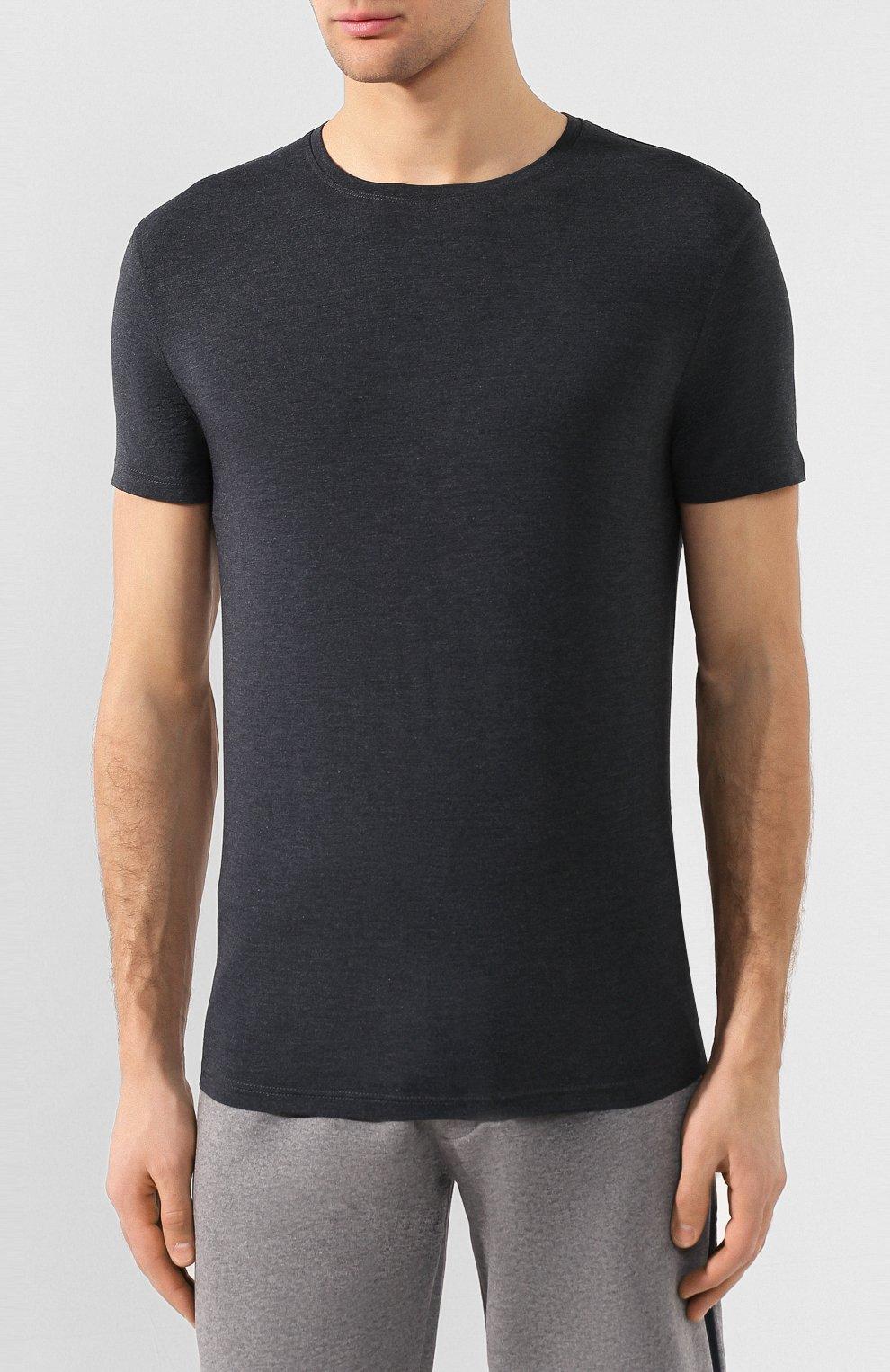 Мужская футболка DEREK ROSE темно-серого цвета, арт. 3048-MARL001   Фото 3 (Кросс-КТ: домашняя одежда; Рукава: Короткие; Материал внешний: Синтетический материал; Длина (для топов): Стандартные; Мужское Кросс-КТ: Футболка-белье; Статус проверки: Проверена категория)