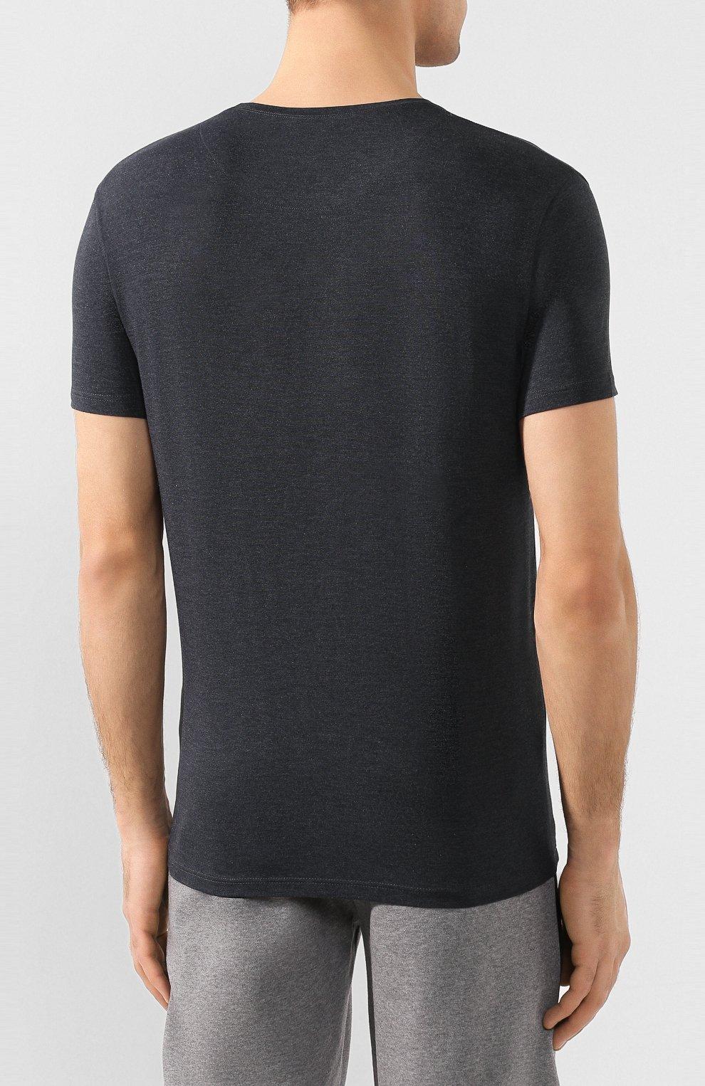 Мужская футболка DEREK ROSE темно-серого цвета, арт. 3048-MARL001   Фото 4 (Кросс-КТ: домашняя одежда; Рукава: Короткие; Материал внешний: Синтетический материал; Длина (для топов): Стандартные; Мужское Кросс-КТ: Футболка-белье; Статус проверки: Проверена категория)