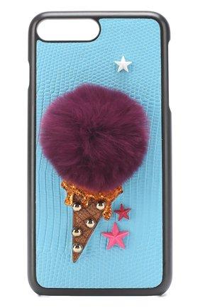 Кожаный чехол для iPhone 7 Plus с аппликацией Dolce & Gabbana    Фото №1