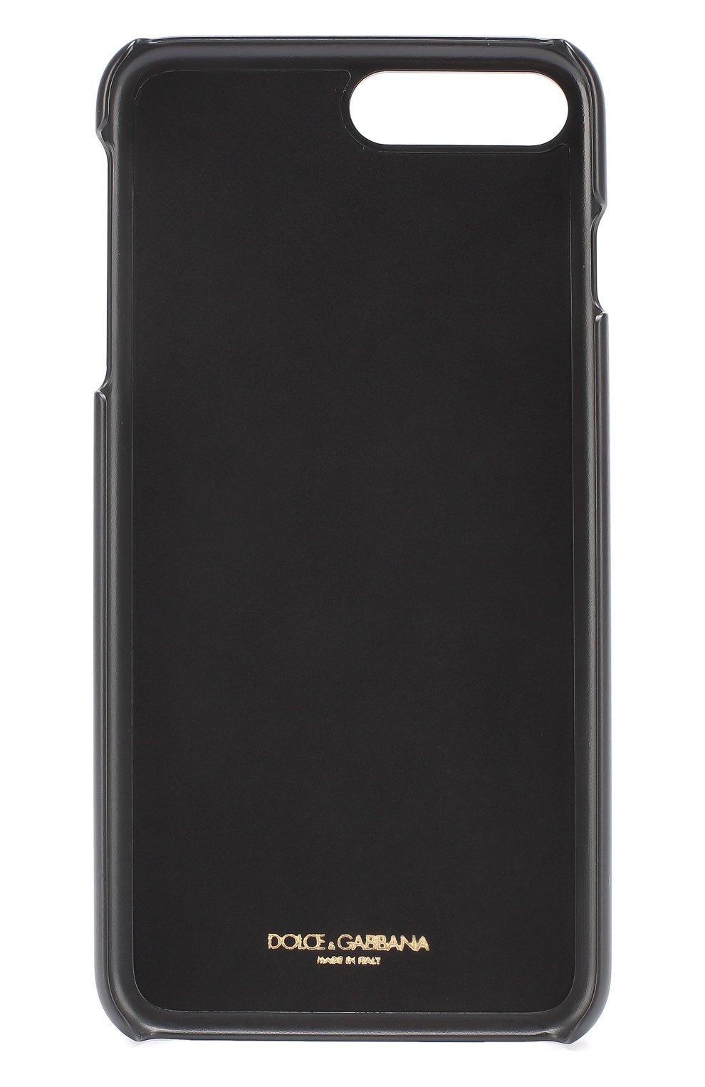 Кожаный чехол для iPhone 7 Plus с аппликацией Dolce & Gabbana    Фото №2