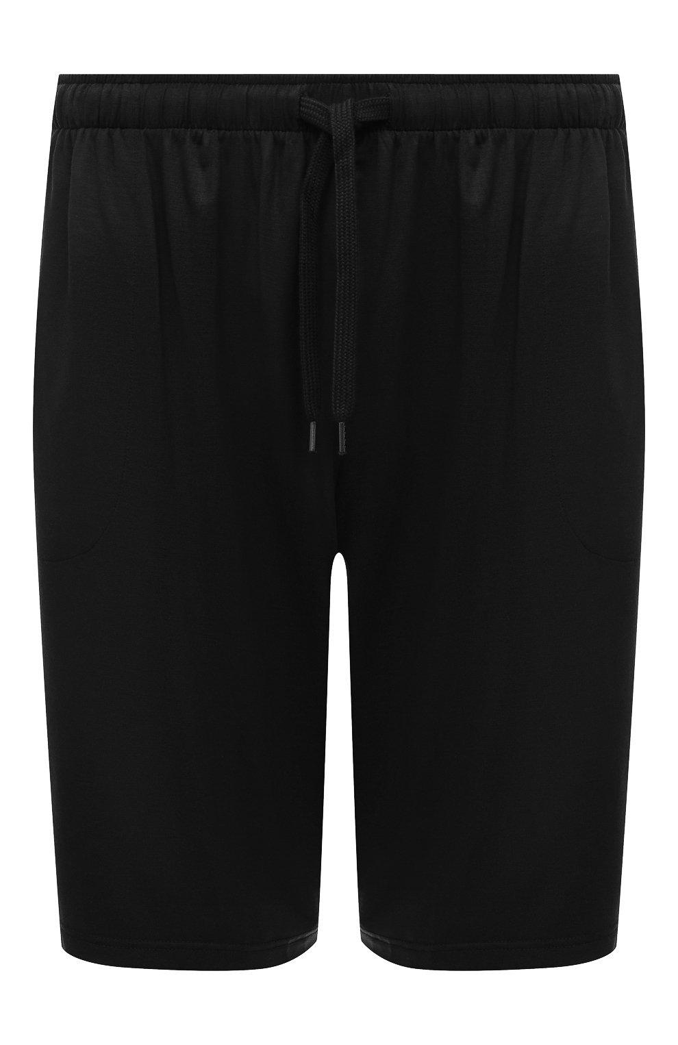 Мужские домашние шорты DEREK ROSE черного цвета, арт. 3559-BASE001 | Фото 1 (Кросс-КТ: домашняя одежда; Материал внешний: Синтетический материал; Статус проверки: Проверена категория)