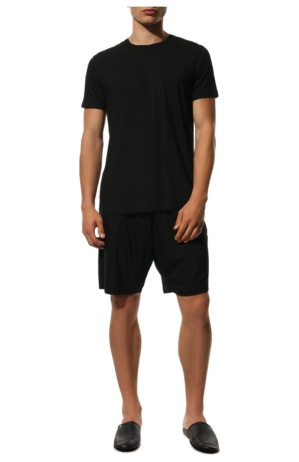Мужские домашние шорты DEREK ROSE черного цвета, арт. 3559-BASE001 | Фото 2 (Кросс-КТ: домашняя одежда; Материал внешний: Синтетический материал; Статус проверки: Проверена категория)