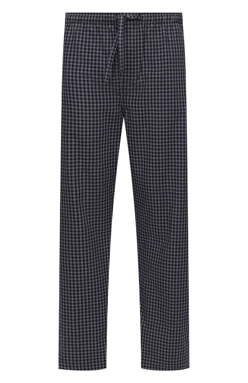 Мужские хлопковые домашние брюки DEREK ROSE темно-синего цвета, арт. 3564-BRAE032 | Фото 1 (Длина (брюки, джинсы): Стандартные; Кросс-КТ: домашняя одежда; Мужское Кросс-КТ: Брюки-белье; Материал внешний: Хлопок; Статус проверки: Проверена категория)