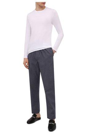 Мужские хлопковые домашние брюки DEREK ROSE темно-синего цвета, арт. 3564-BRAE032 | Фото 2