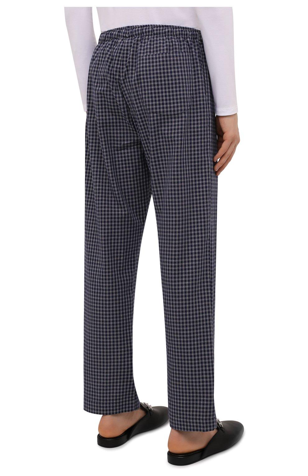 Мужские хлопковые домашние брюки DEREK ROSE темно-синего цвета, арт. 3564-BRAE032 | Фото 4 (Длина (брюки, джинсы): Стандартные; Кросс-КТ: домашняя одежда; Мужское Кросс-КТ: Брюки-белье; Материал внешний: Хлопок; Статус проверки: Проверена категория)