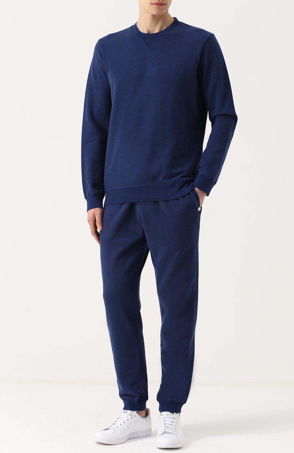 Мужской хлопковый свитшот свободного кроя DEREK ROSE темно-синего цвета, арт. 9000-DEV0001 | Фото 2 (Рукава: Длинные; Принт: Без принта; Длина (для топов): Стандартные; Мужское Кросс-КТ: свитшот-одежда; Материал внешний: Хлопок)