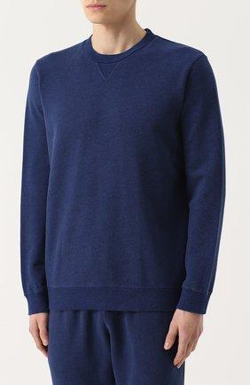 Мужской хлопковый свитшот свободного кроя DEREK ROSE темно-синего цвета, арт. 9000-DEV0001 | Фото 3 (Рукава: Длинные; Принт: Без принта; Длина (для топов): Стандартные; Мужское Кросс-КТ: свитшот-одежда; Материал внешний: Хлопок)