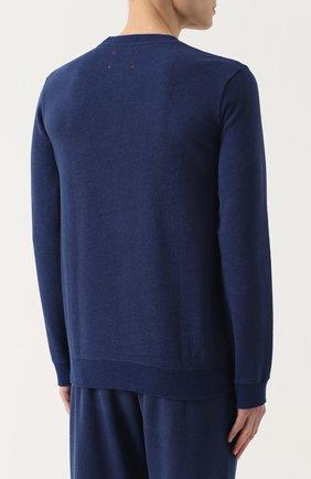 Мужской хлопковый свитшот свободного кроя DEREK ROSE темно-синего цвета, арт. 9000-DEV0001 | Фото 4 (Рукава: Длинные; Принт: Без принта; Длина (для топов): Стандартные; Мужское Кросс-КТ: свитшот-одежда; Материал внешний: Хлопок)