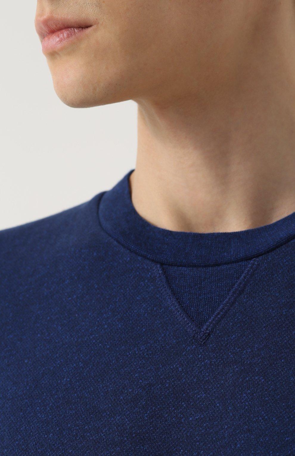 Мужской хлопковый свитшот свободного кроя DEREK ROSE темно-синего цвета, арт. 9000-DEV0001 | Фото 5 (Рукава: Длинные; Принт: Без принта; Длина (для топов): Стандартные; Мужское Кросс-КТ: свитшот-одежда; Материал внешний: Хлопок)