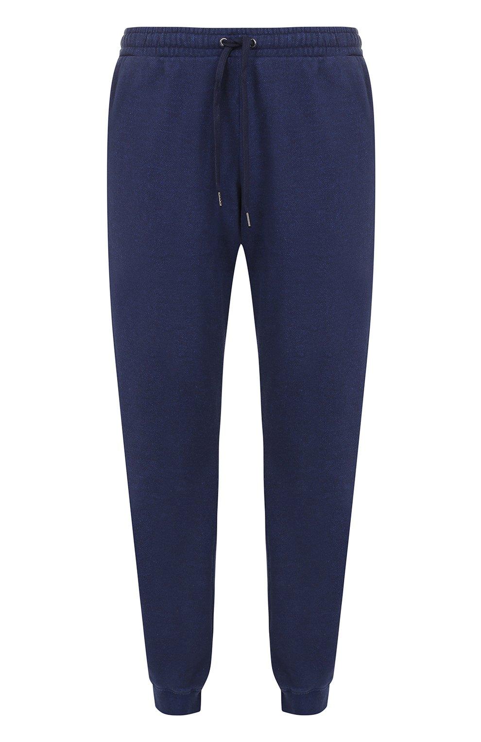 Мужские хлопковые джоггеры DEREK ROSE темно-синего цвета, арт. 9250-DEV0001 | Фото 1 (Мужское Кросс-КТ: Брюки-трикотаж; Длина (брюки, джинсы): Стандартные; Материал внешний: Хлопок; Силуэт М (брюки): Джоггеры)