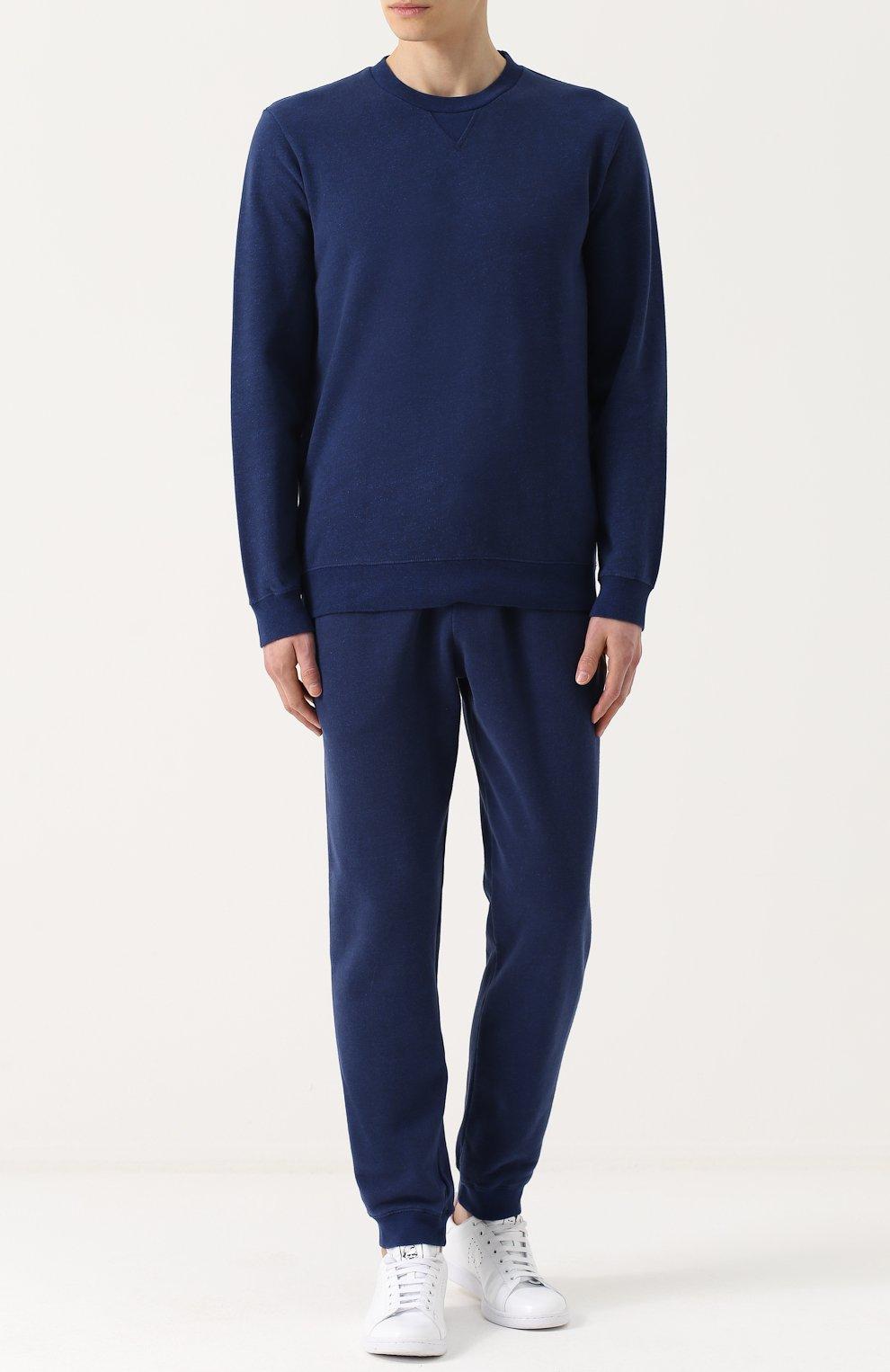 Мужские хлопковые джоггеры DEREK ROSE темно-синего цвета, арт. 9250-DEV0001 | Фото 2 (Мужское Кросс-КТ: Брюки-трикотаж; Длина (брюки, джинсы): Стандартные; Материал внешний: Хлопок; Силуэт М (брюки): Джоггеры)