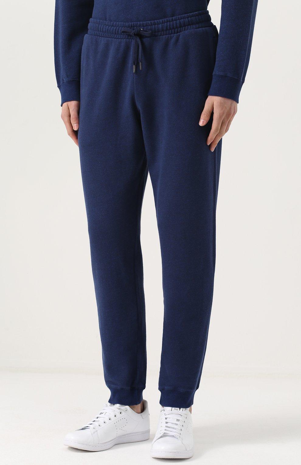 Мужские хлопковые джоггеры DEREK ROSE темно-синего цвета, арт. 9250-DEV0001 | Фото 3 (Мужское Кросс-КТ: Брюки-трикотаж; Длина (брюки, джинсы): Стандартные; Материал внешний: Хлопок; Силуэт М (брюки): Джоггеры)
