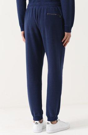Мужские хлопковые джоггеры DEREK ROSE темно-синего цвета, арт. 9250-DEV0001 | Фото 4 (Мужское Кросс-КТ: Брюки-трикотаж; Длина (брюки, джинсы): Стандартные; Материал внешний: Хлопок; Силуэт М (брюки): Джоггеры)