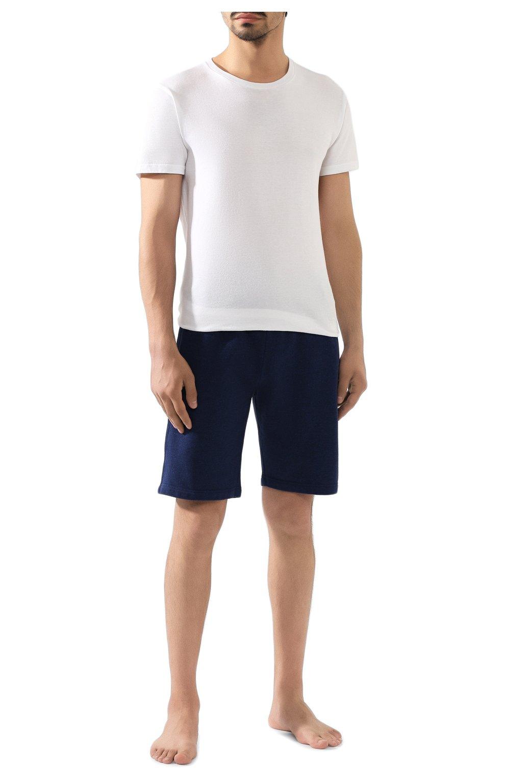 Мужские хлопковые шорты DEREK ROSE темно-синего цвета, арт. 9300-DEV0001   Фото 2 (Длина Шорты М: До колена; Принт: Без принта; Кросс-КТ: Трикотаж; Материал внешний: Хлопок; Стили: Спорт-шик)
