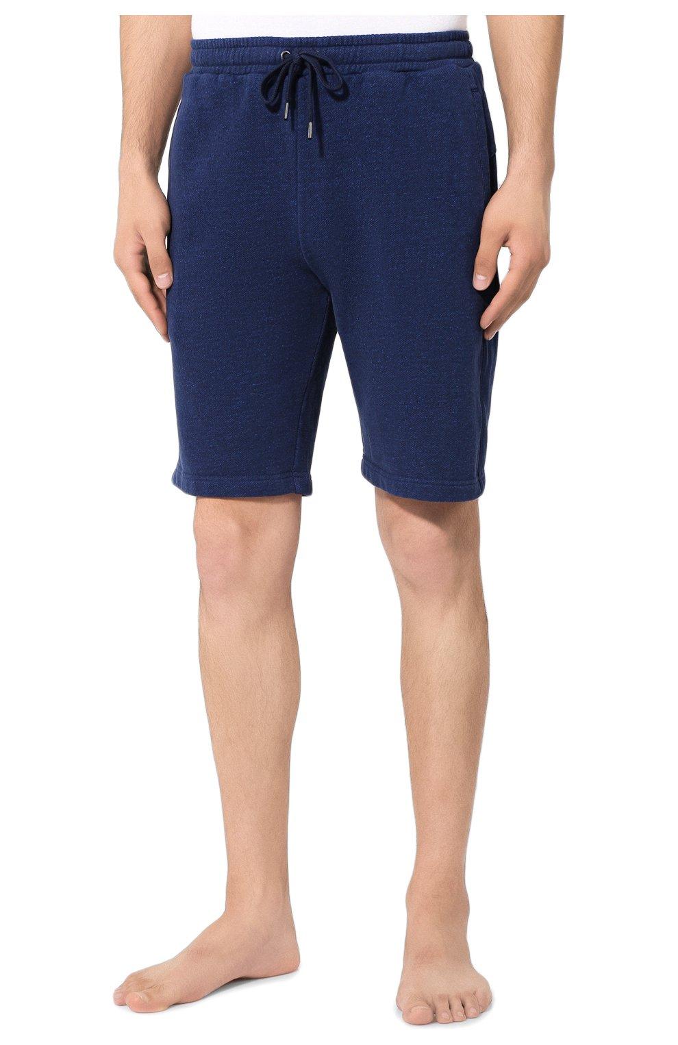 Мужские хлопковые шорты DEREK ROSE темно-синего цвета, арт. 9300-DEV0001   Фото 3 (Длина Шорты М: До колена; Принт: Без принта; Кросс-КТ: Трикотаж; Материал внешний: Хлопок; Стили: Спорт-шик)