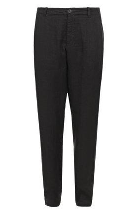 Льняные брюки прямого кроя с заниженной линией шага