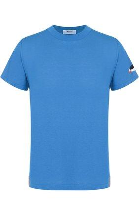 Хлопковый джемпер с короткими рукавами Burri Milano темно-синий   Фото №1