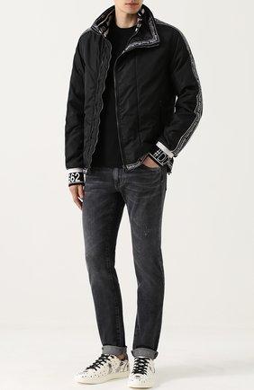 Джинсы прямого кроя с потертостями Dolce & Gabbana темно-серые | Фото №2