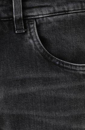 Джинсы прямого кроя с потертостями Dolce & Gabbana темно-серые | Фото №5