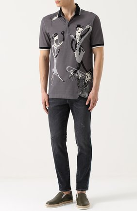 Хлопковое поло с принтом Dolce & Gabbana серое | Фото №2
