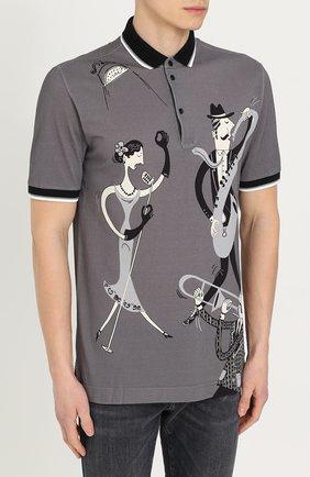 Хлопковое поло с принтом Dolce & Gabbana серое | Фото №3