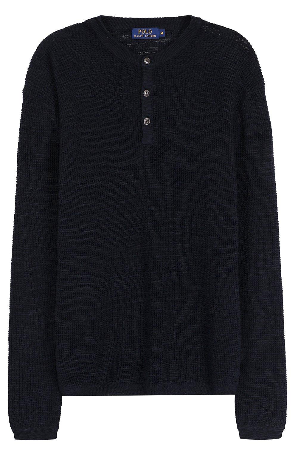Джемпер фактурной вязки из смеси хлопка и льна | Фото №1
