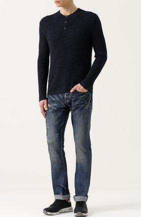 Джемпер фактурной вязки из смеси хлопка и льна | Фото №2