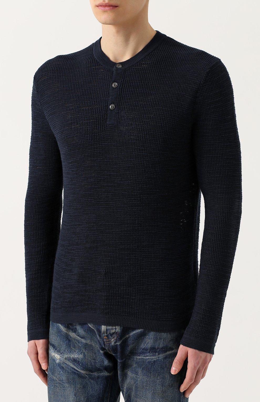 Джемпер фактурной вязки из смеси хлопка и льна | Фото №3