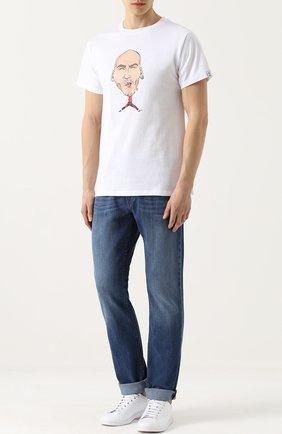 Хлопковая футболка с принтом Spotlight белая   Фото №1