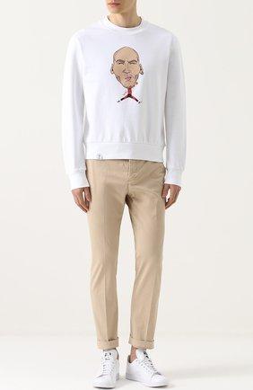 Хлопковый свитшот с принтом Spotlight белый   Фото №1